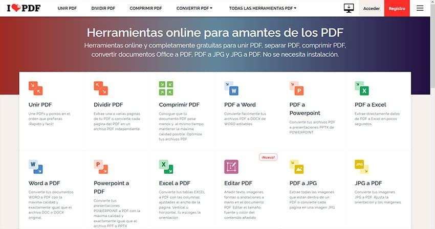Sitio web I love PDF